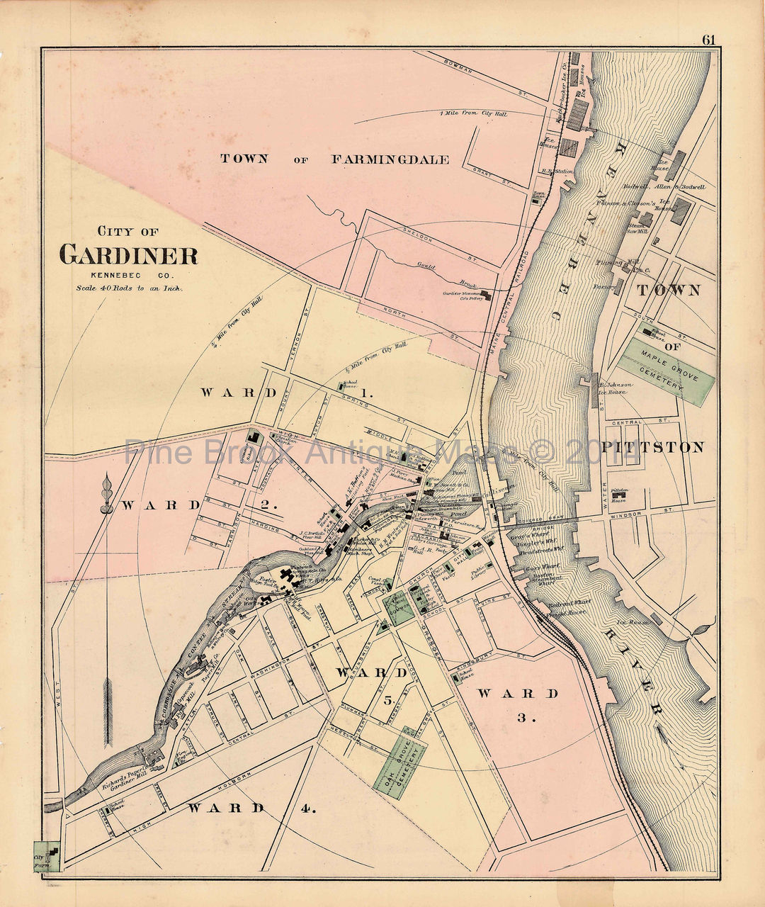 Hallowell Gardiner Waterville Maine Antique Map Colby 1884