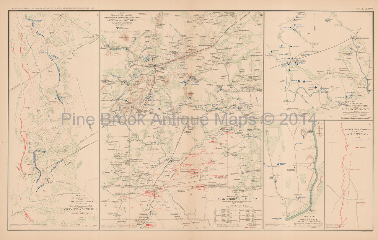 Mine Run Campaign Atlanta Civil War Antique Map  Original EBay - Map of atlanta civil war