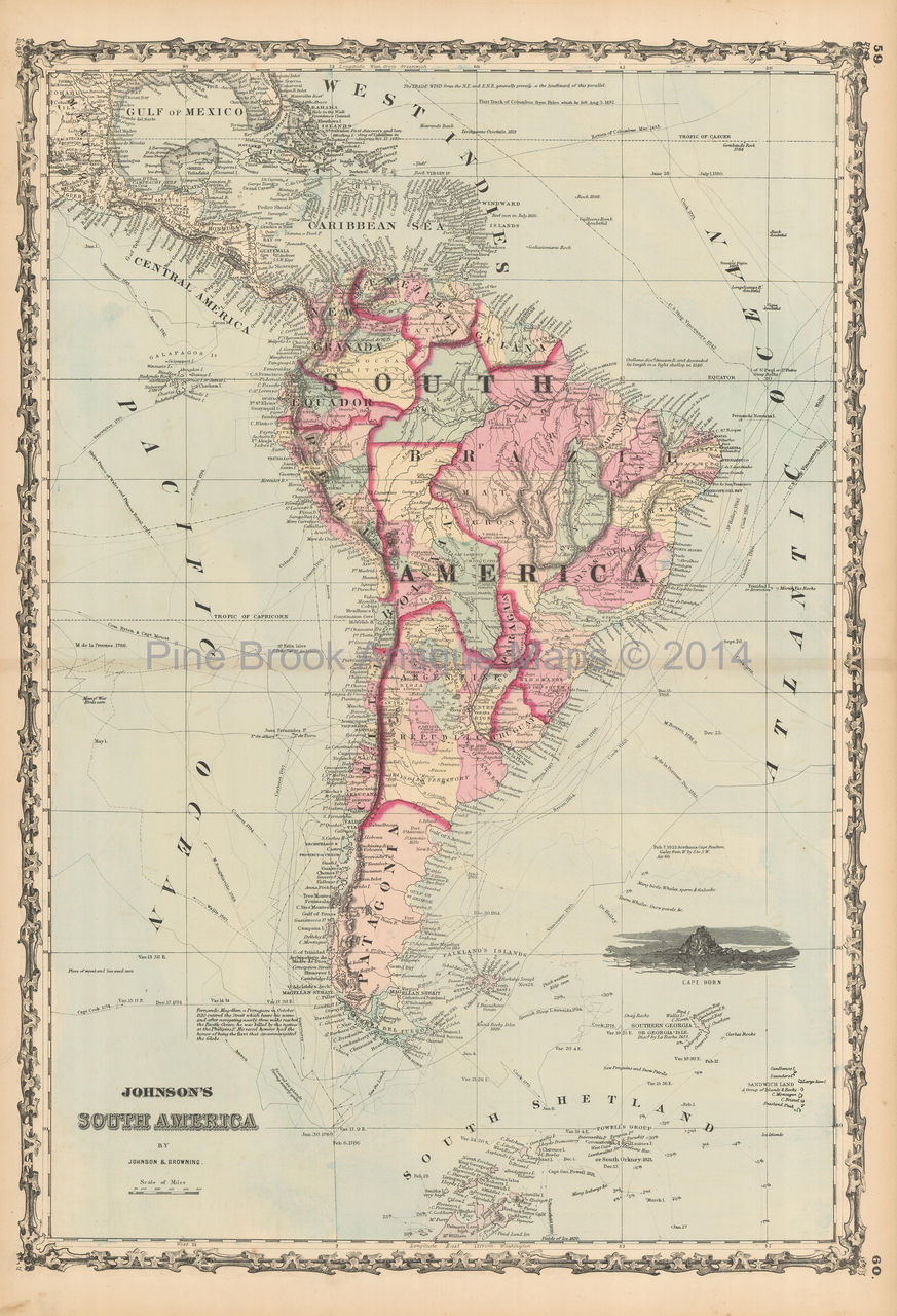 Map Of America In 1861.South America Antique Map Johnson 1861 Original Ebay
